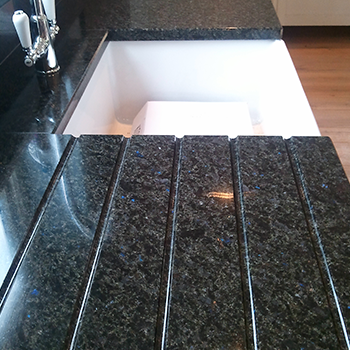 Blues in the night granite around a Belfast sink - granitecraft shropshire