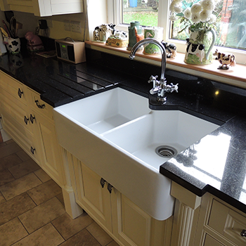 Nero cosmos granite with upstands - granitecraft shropshire