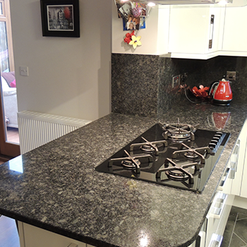 Steel grey granite breakfast bar - granitecraft shropshire