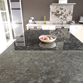 Voluga Blue granite on the island and Bianco Antico for worktops - granitecraft shropshire