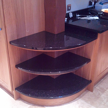 Angola Gold granite end shelves to match the worktop - granitecraft shropshire