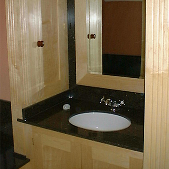 cafe Bahia vanity top and mirror surround - granitecraft shropshire