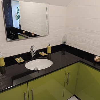 supreem Black granite vanity top - granitecraft shropshire