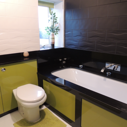 Supreme black granite in a bathroom looks classic - granitecraft shropshire
